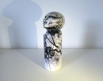 Original Female Sculpture Stone, Art, black and white, Sparkling Figurine Original Sculpture, art sculpture, art Doll, gifts for her,