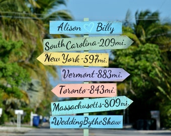 Welcome wedding sign. Wooden destination signage for Wedding Gift idea. Wood Directional Location sign post. Personalized Mile marker.