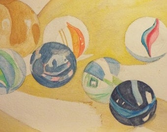 """Marbles 2, watercolor 10 x 13 """""""