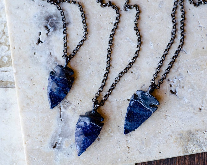 Small Blue Goldstone Arrowhead Necklace