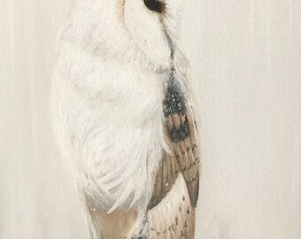 White Owl Painting // Winters Guard // Original Acrylic Painting // Tony Rector Art // 12 x 16 Size // Snow White Bard Owl Original Art