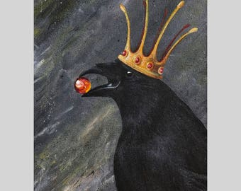 Raven with Crown Painting // Portrait of the King // Original Acrylic Painting // Tony Rector Art // 12 x 15 Size // Black Crow Original Art
