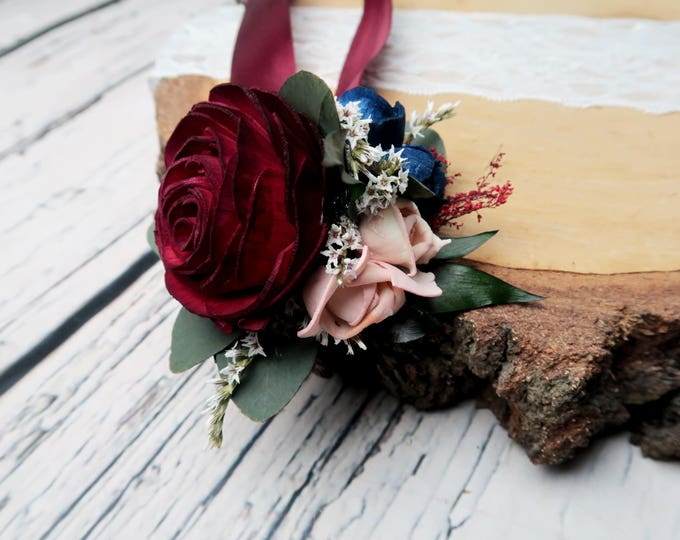 Burgundy rose wrist corsage blush pink navy blue ivory sola flowers preserved eucalyptus ruscus dried flowers mother of bride wedding flower