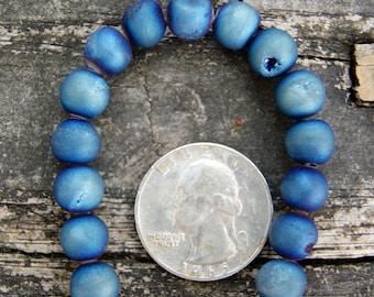 Blue Druzy Agates 8mm Round Beads (16 inch strand)