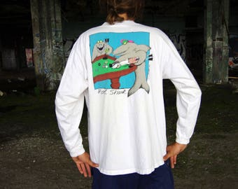 80's POOL SHARKS crazy shirts hawaii white long sleeve t-shirt size extra large