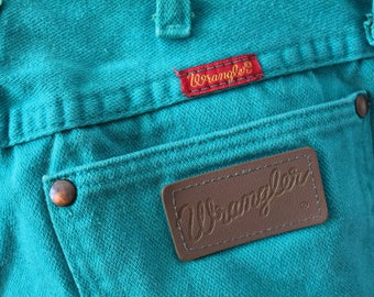 80s Teal Turquoise Wrangler Jeans 7x30 26W