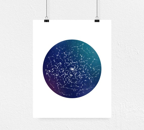 Northern Hemisphere Star Map Print