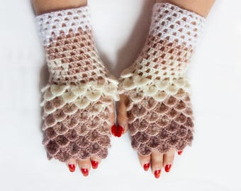 Ready to ship - Crochet Gloves, Dragon Scale Fingerless Gloves, Dragon Fingerless Gloves, Mittens, Gift For Christmas by LoveKnittings