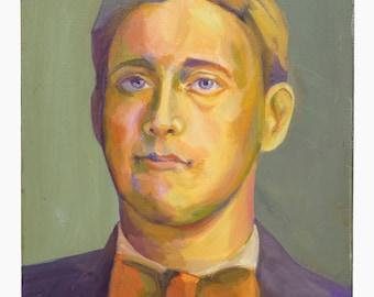 Kim Moore Oil Painting On Canvas Man Portrait Vintage