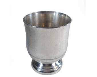 French Silver Plated Tumbler, Baby Ribbed Pedestal Cup