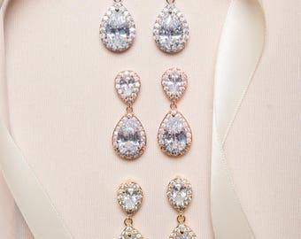 Bridal Earrings - Silver, Gold, Rose Gold, Wedding Earrings, Teardrop Earrings