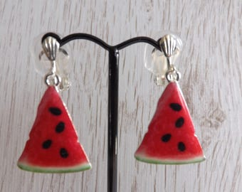 Clip-on melon earrings, clipon fruit earrings, clip-on enamel earrings, food earrings, unpierced earrings, non-pierced earrings, triangles