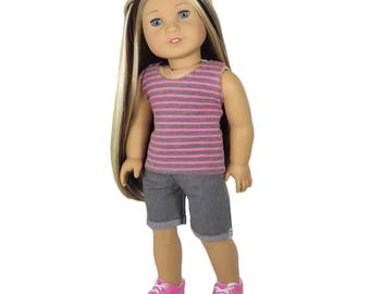 Fits Like American Girl Doll Clothes.  Pink and Grey Striped Tank Top and Grey Shorts.