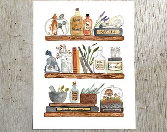 Harry Potter Inspired Apothecary Art Print, Watercolor Magic Painting by Little Truths Studio