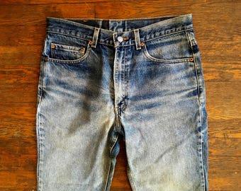 Vintage LEVIS 517 Boot Cut Distressed & DESTROYED Denim Work JEANS 33x30 #3