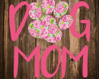 Lilly Pulitzer {inspired} Dog Mom Decal | Cat Mom Decal | Paw Print Decal | Dog Mom Car Decal | Cat Mom Car Decal | Cat Paw Decal | Dog Paw