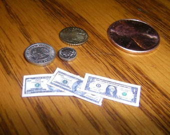 Bills, Coins, Money  in 1/12 scale miniature dollhouse, American money