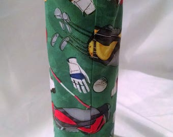 wine tote, fun gift for golf lovers, birthday present for him and her, sports bag, wine bottle cover