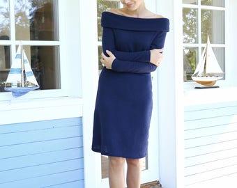 Bare Shoulders Dress | Merino Wool Dress | Elegant Dress | Women Dress | Soft Dress | Evening Dress | Date Dress |  Fitted Dress |