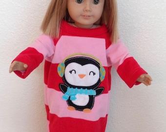 Fleece Nightgown Fits Most 18 inch dolls/Penguin Print