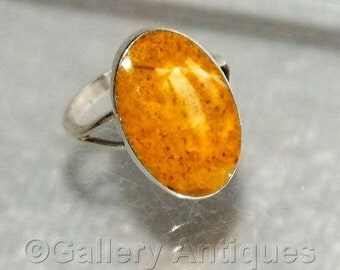Vintage Mexican Taxco 925 Sterling Silver and Bumblebee Jasper Stone Set Ring Size M / N (UK) 6.5 (US) Eagle Mark c.1960's (ref: 2332)