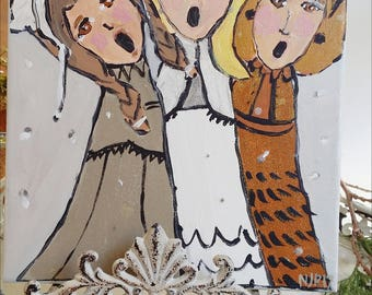 Christmas Caroler Painting- 9x12 inches
