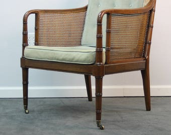 Marvelous Mid Century Cane Back Accent Chair Hollywood Regency Harvey Probber Style