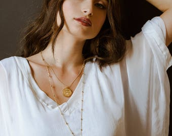 Gold Rosary Necklace- Long Gold Cross Lariat Necklace