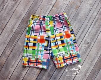3T Boys Madras shorts Toddler boys shorts boys plaid shorts  boys shorts with pockets boys summer shorts toddler shorts ready to ship shorts