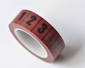 Red Teacher Measuring Tape Ruler Washi Tape 15mm Wide x 10M Roll No.12592