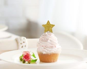 STAR glitter cupcake topper set of 12 - birthday / bridal shower / engagement / wedding / baby shower / theme party decoration