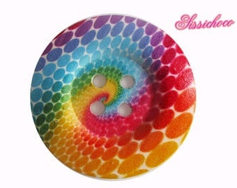 Rainbow 50mm decorated wooden button