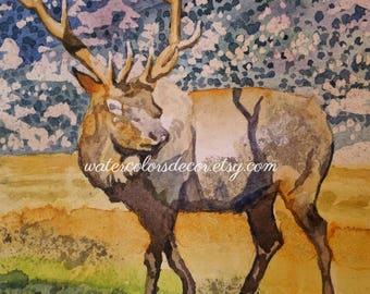 Rocky Mountain Elk watercolor print. Elk painting. Elk wall art. Elk picture. Watercolor art. Watercolor mountain. Rustic decor.