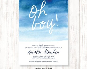 Oh Boy Baby Shower, Blue Watercolor Baby Shower, Watercolor Baby Shower Invitation, Blue Watercolor, Boy Baby Shower, Classy Blue Shower