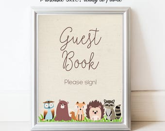 Printable Guest Book Sign, Woodland Baby Shower, Forest animals, Please Sign Book, Baby Shower book, Baby Shower Sign, Table Sign, MB200