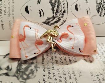 Pink flamingo bow