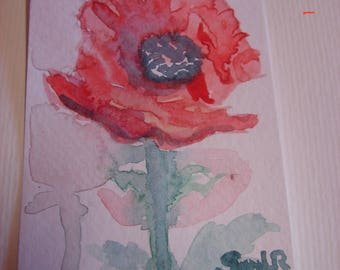 Red Poppy original flower floral ACEO Painting miniature Poppy painting, Poppy watercolour art, artist trading card, Australian painting red