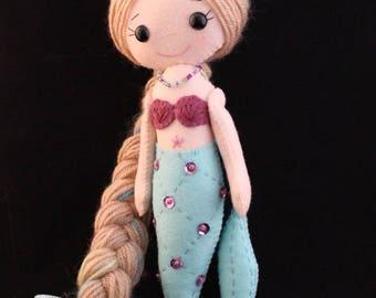 Mermaid felt doll Gingermelon doll