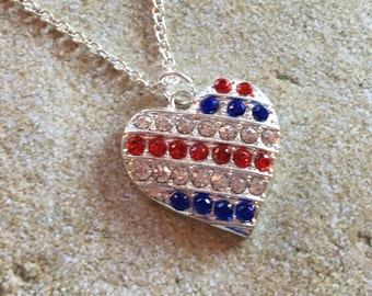 Patriotic Necklace, 4th of July Necklace, Red, Blue and Clear Rhinestone Necklace, Jewelry, Womens Jewelry