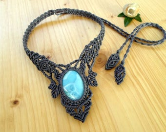Larimar macrame necklace, macrame stone, gemstone necklace, larimar jewelry, hippie necklace, macrame jewelry, boho necklace, gypsy jewelry