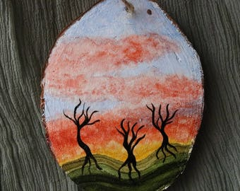 Hand Painted Ornament, Alcohol Ink Art, Tree and Sky Painting, Dreamy and Surreal