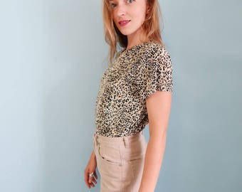 90s Satin Micro Pleat Leopard Print Tee