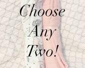 Choose Any Two! 47x47 100% Cotton Muslin/Double Gauze Swaddling Blanket