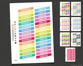 Cancelled / Rescheduled Planner Stickers -  Repositionable Matte Vinyl To Suit Erin Condren Life Planner Vertical