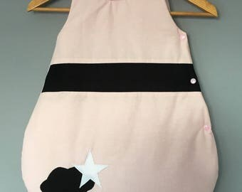 Sleeping bag 0-6 months pink and black with clouds