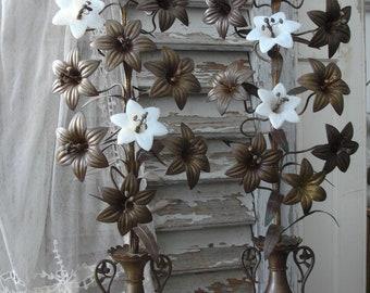 Pair antique church decorations opalin flowers