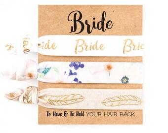 YOU DESIGN Bridal Hair Tie Set | Gold Foil Bride Hair Ties, Bride to Be Gift, Boho Bride, Bohemian Wedding Bridal Shower Bachelorette Party