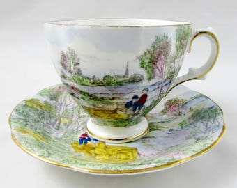 Royal Stuart River Side Scene Tea Cup and Saucer, Hand Painted, Vintage Bone China, Teacup and Saucer Set