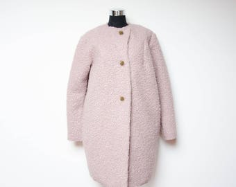 Pink coat - loose coat for women - pink oversized coat - iconic pink coat - maxi coat for women - wool coat - coat with vintage bottons