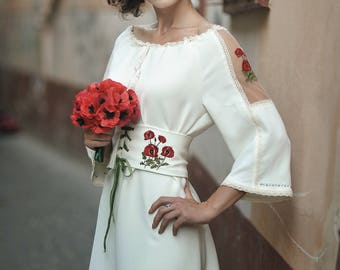 Ivory white embroidery poppies sleeve dress and corset belt/The poppy wedding dress